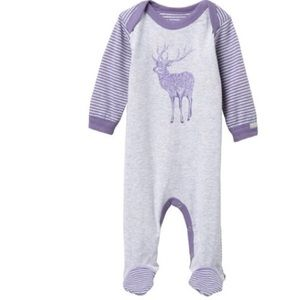 Coccoli striped deer pajamas purple Size 9 months